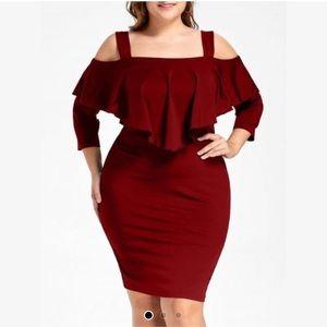 Overlay Cold shoulder fitted dress